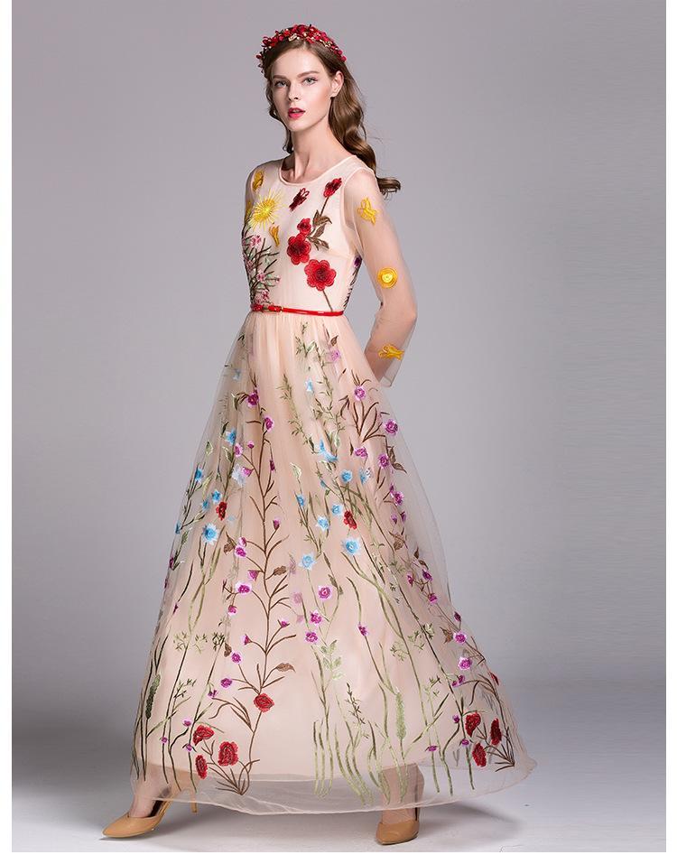 2019 O cuello de la mujer 3/4 mangas bordado floral en capas elegante fiesta de baile vestidos largos