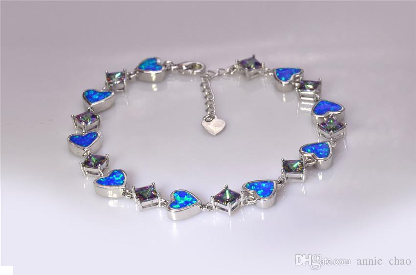 Vendita al dettaglio all'ingrosso moda 7.5 pollici fine Rinbow blu fuoco opale braccialetto 925 gioielli in argento sterling le donne _DSC3179Wholesale al dettaglio