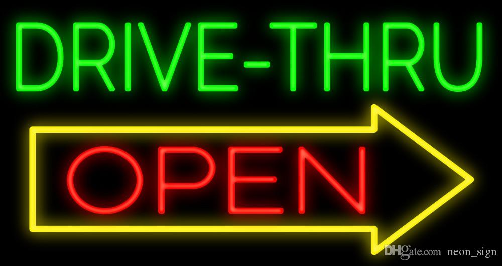 Drive Thru Open Neon Sign Handcrafted Custom Real Glass Tube ...