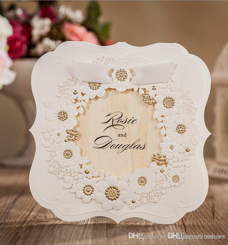 Romantic white hollow flower wedding invitation cards personality cards personality customized printable birthday wedding party invitation card with envelope design your own wedding invitations do it yourself wedding solutioingenieria Images