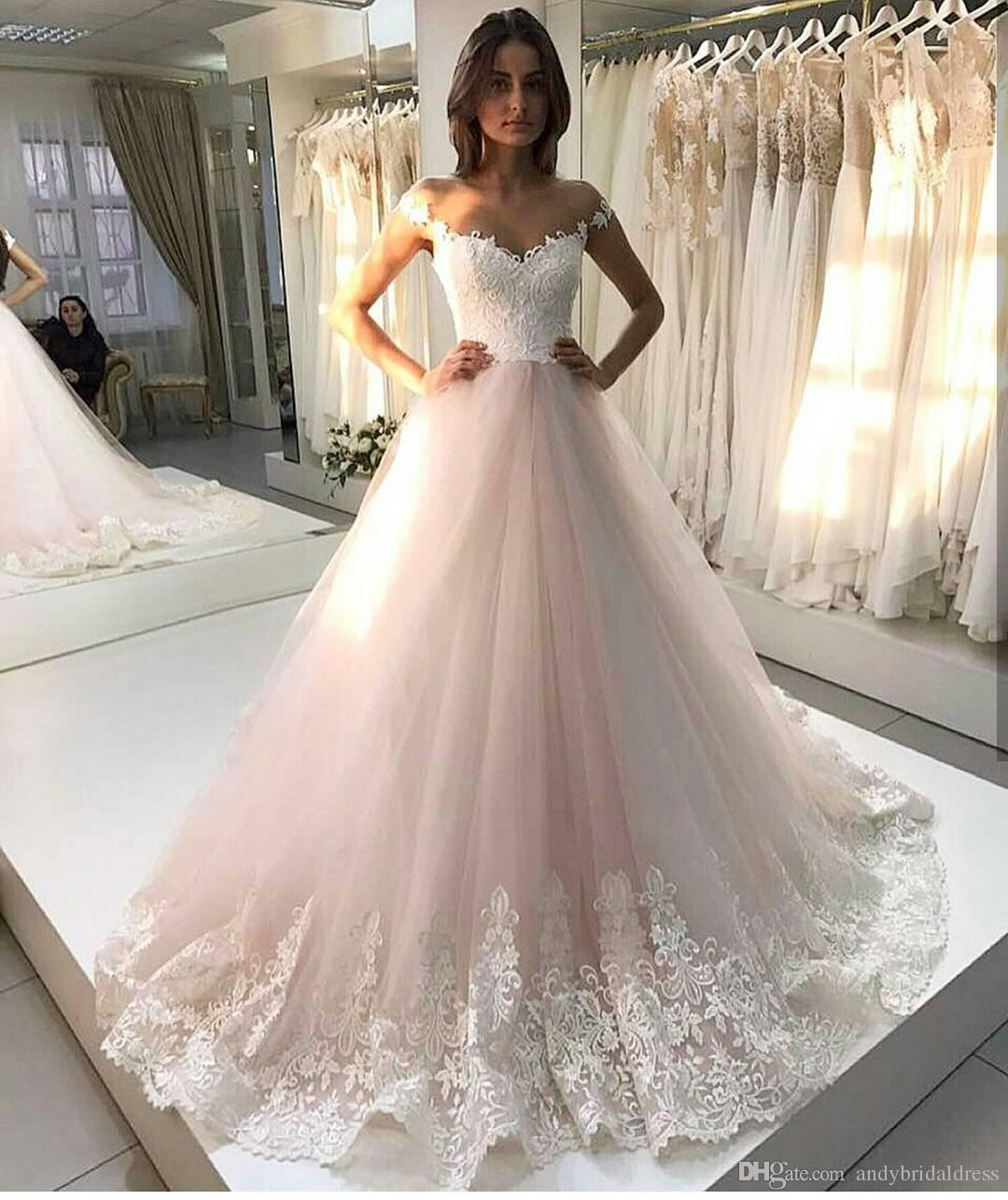 65e127878b Discount 2017 Princess Wedding Dress Blush Bride Gown Lace Appliqued Trim  Vintage Wedding Gowns Bridal Dresses Custom Made A Line Princess Wedding  Dresses A ...