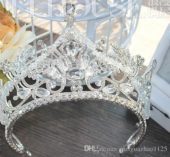 Otantik Avrupa büyük kristal boncuklu taç gelin düğün hediyesi gelinlik kraliçe taç headdress rolünü hareket hak