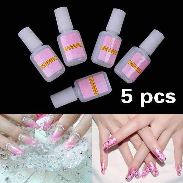 Wholesale 5 X 10g Nail Art Glue Tips Glitter Uv Acrylic Rhinestones