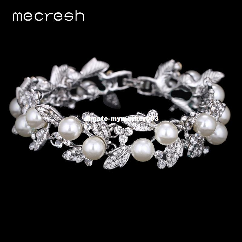 Compre dhgate simulated pearl bracelets for women silver color link compre dhgate simulated pearl bracelets for women silver color link chain crystal bridal wedding jewelry pulseiras bangles sl089 de mymother003 junglespirit Gallery