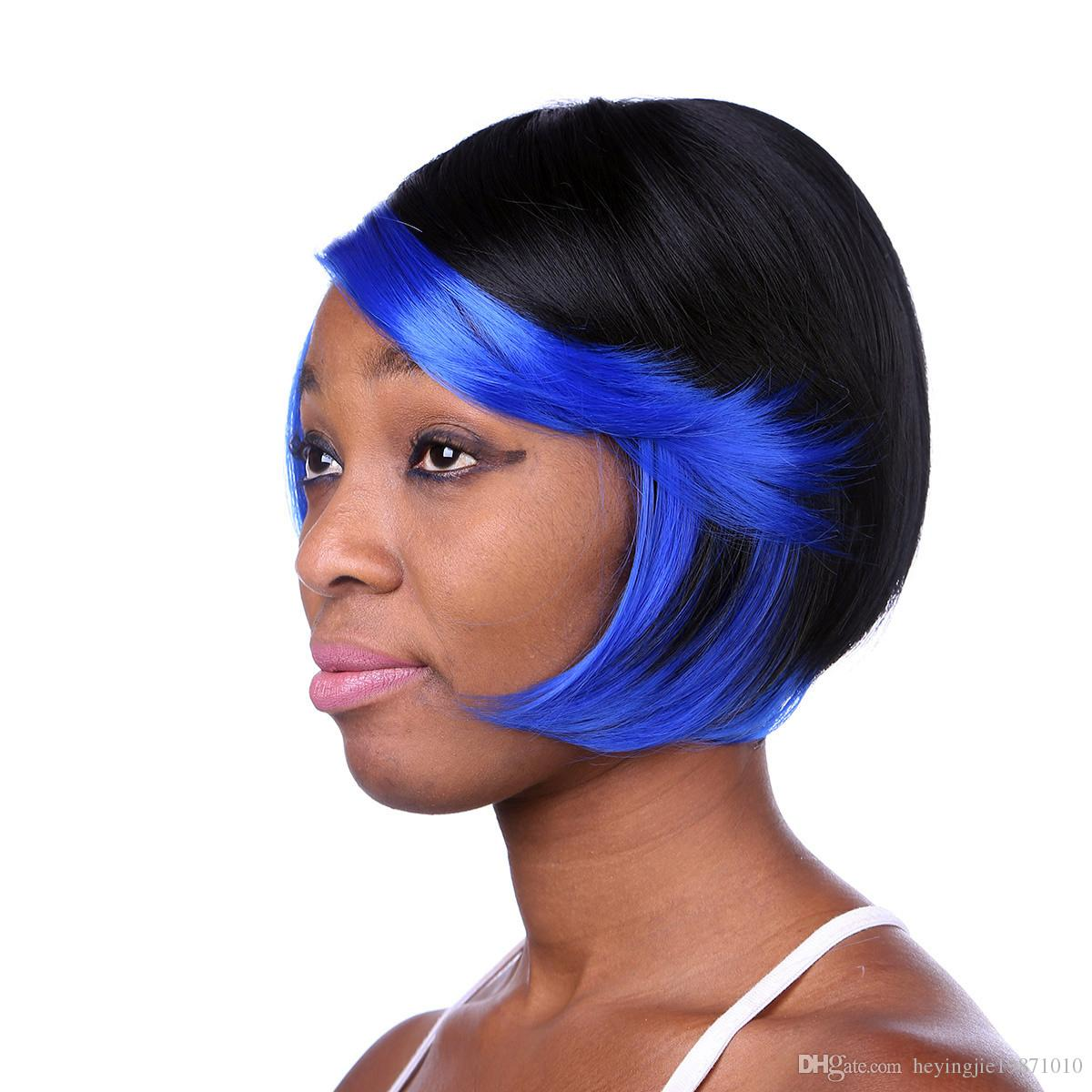 Xiu Zhi Mei Fashion Sexy Straight Short Cheap Bob Wigs For Black Women Heat Resistant Synthetic Blue Highlights On Black Hair