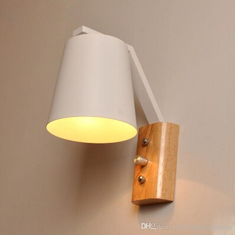 Modern Wooden Iron Wall Lamps Sconces Living Room Restaurant Bedroom