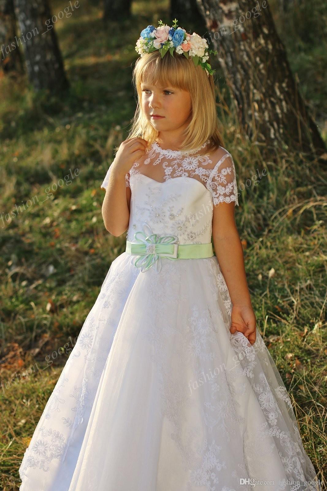 4a4f1ee5bf3 Pretty Lace 1st Communion Dresses For Little Girls 2018 Modern Sleeves    Mint Sash Elegant Mother Daughter Wedding Dress For Flower Girls Toddler  Girls ...