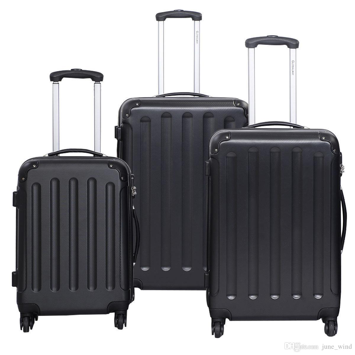 Globalway Luggage Travel Set Bag Abs Pc Trolley Suitcase Black ...