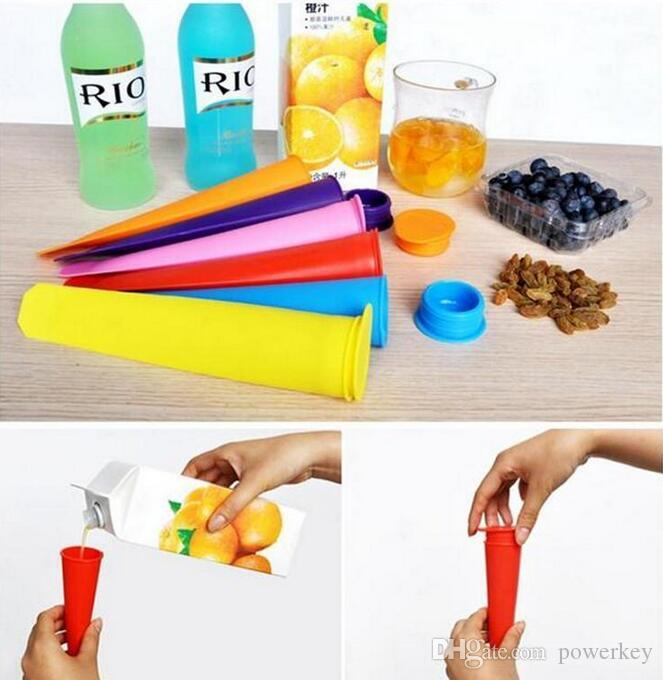 2017 Silicone Ice Pop Mold Popsicles Mould with Lid Ice Cream Makers Push Up Ice Cream Jelly Lolly Pop For Popsicle 15*3.5cm