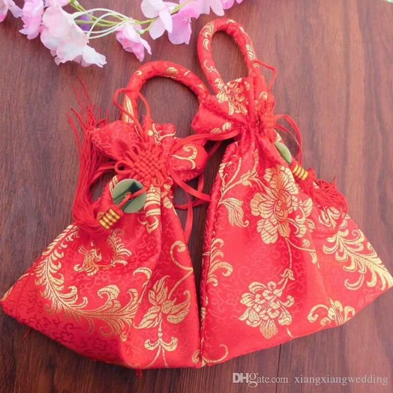 Pochette de bijoux de boîte de sucrerie de faveur de mariage Délicates broderie de fleur chinoise avec le gland traditionnel et les sacs-cadeaux de nouvel an asiatiques de jade