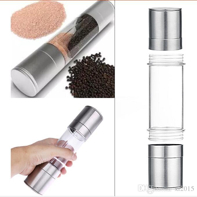 Pepper Grinder 2 en 1 de acero inoxidable Manual Salt Pepper Mill Grinder Herramientas de cocina Accesorios para cocinar