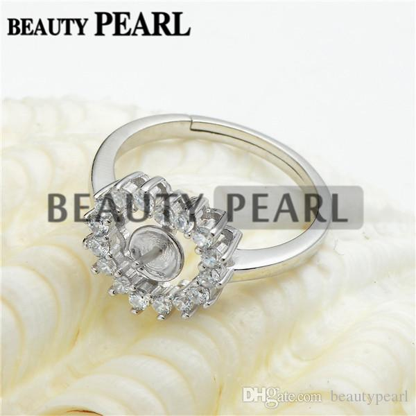 Pearl Ring Settings Cubic Zirconia Adorned 925 Sterling Silver Finding Heart Pearl Ring Mount