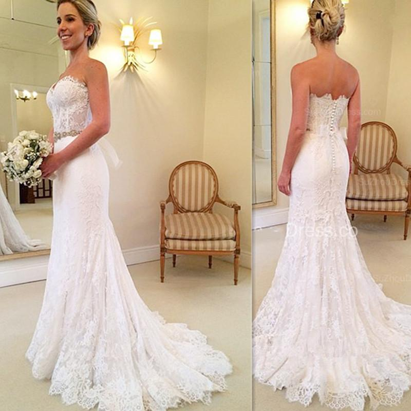 Simple Lace Trumpet Wedding Gowns Long 2018 Sweetheart Handmade ...