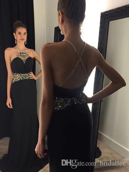 Sexy Black Party Dresses Halter Neck Prom Dresses Long With Beading Cross Criss Evening Party Gowns vestido longo