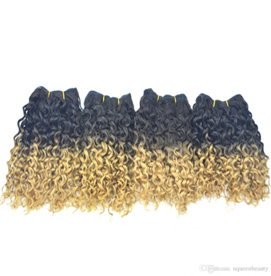 حار بيع أومبير مجعد نسج 3 قطعة / الوحدة نوعية جيدة بيرو الشعر البشري الألوان النقية مصبوغ ملحقات dhl الشحن اليوم