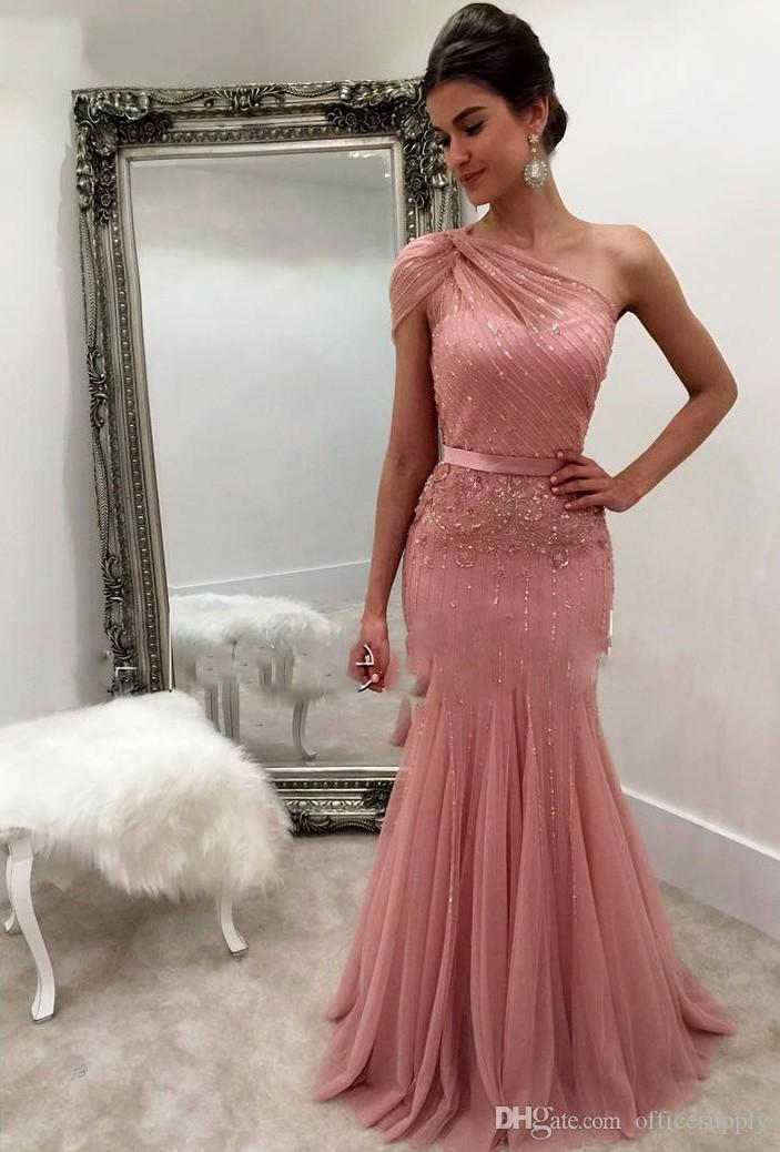 One Shoulder Blush Pink Mermaid Formal Prom Dresses Sparkly Sequins Party Dresses Open Back Evening Gowns