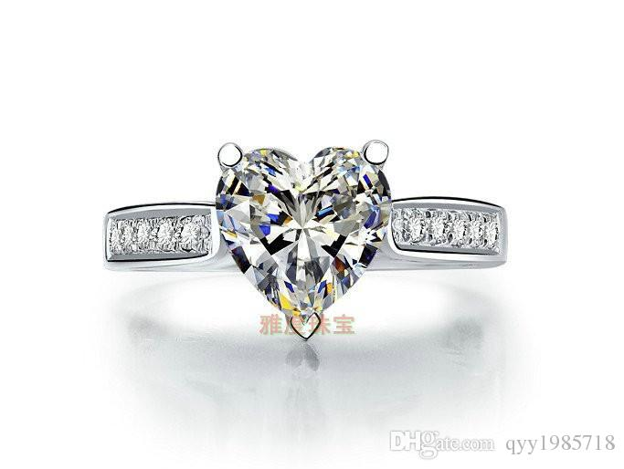 Großhandel Schmuck Micro Gepflasterte Herz 2CT Sterling Silber Garantie Weißgold Farbe Synthetische Diamanten Ring Frauen Hochzeit Trendy Schmuck