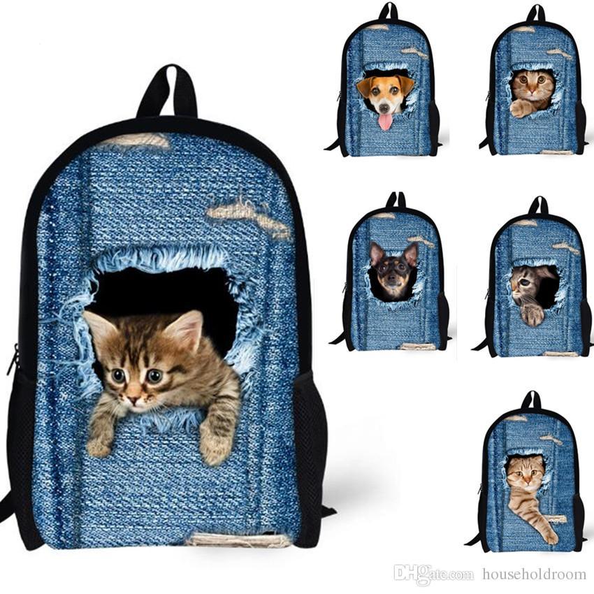 21e8193c88 2019 Hot Sale 3D Animal Backpacks Cute Cat   Dogs School Bag Children Adult  Outdoor Travel Bags Rucksacks From Householdroom