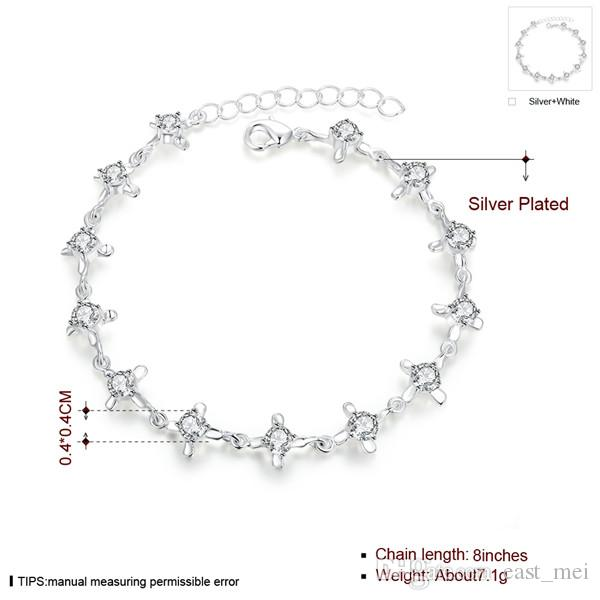 top sale Crossed lobster claw plate 925 silver charm bracelet 8inchs EMB373,women's sterling silver plated jewelry bracelet