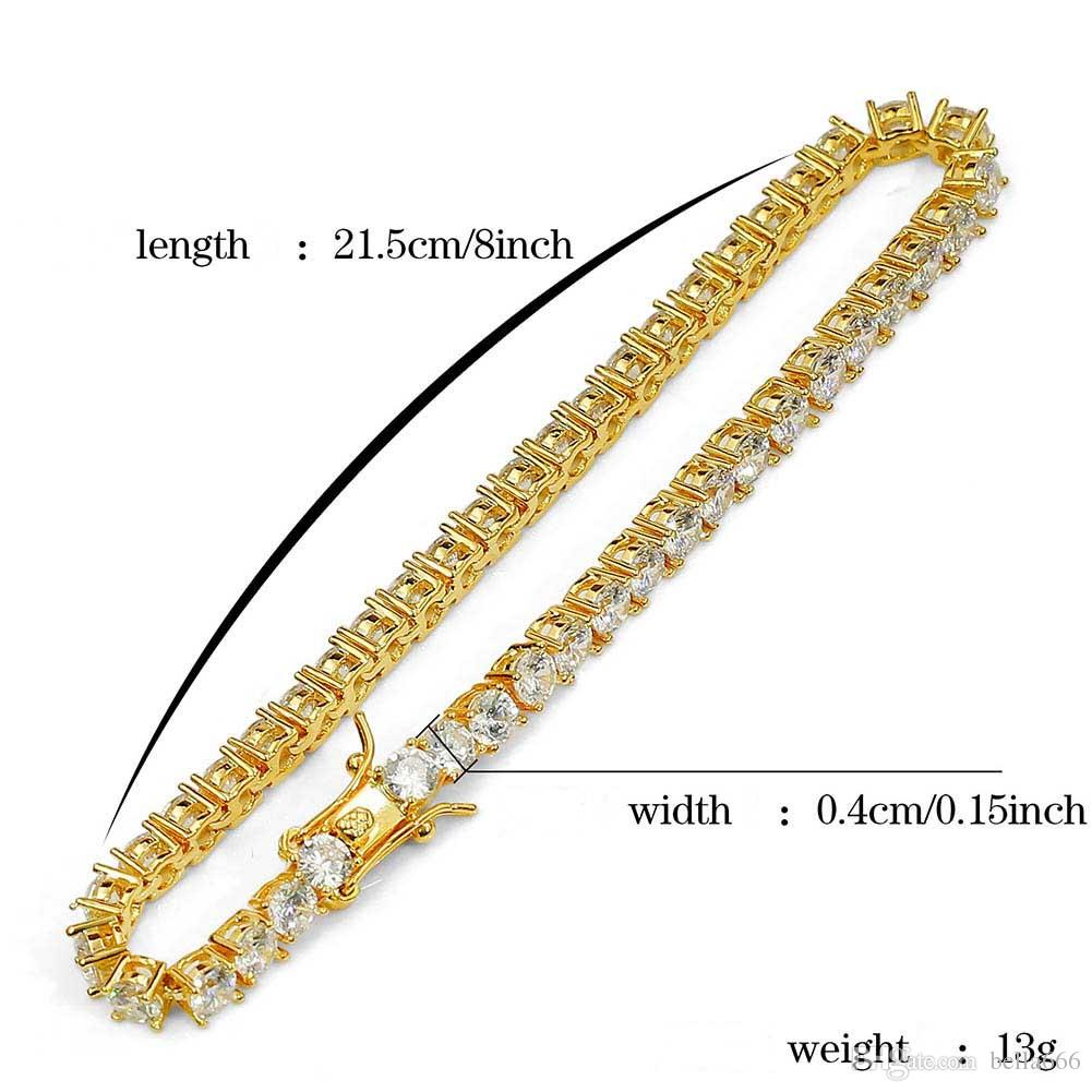 4mm 1 Row Micro Cubic Zirconia Hiphop Bracelets Women Men Zircon Bangle Copper Hip Hop Toggle clasps CZ Tennis Link Chain Gift Jewelry