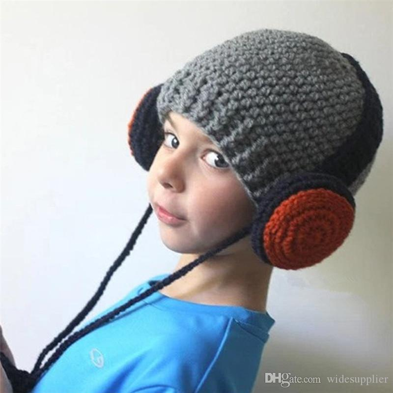 2017 Beanies Hats Handmade hats Europe and the United States street people headset headphones ear protection Kids decoration hats