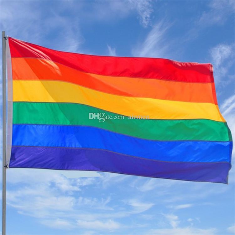 قوس قزح العلم 3x5ft 90x150 سنتيمتر مثليه مثلي الجنس فخر البوليستر lgbt العلم راية البوليستر الملونة قوس قزح العلم للزينة 3x5ft
