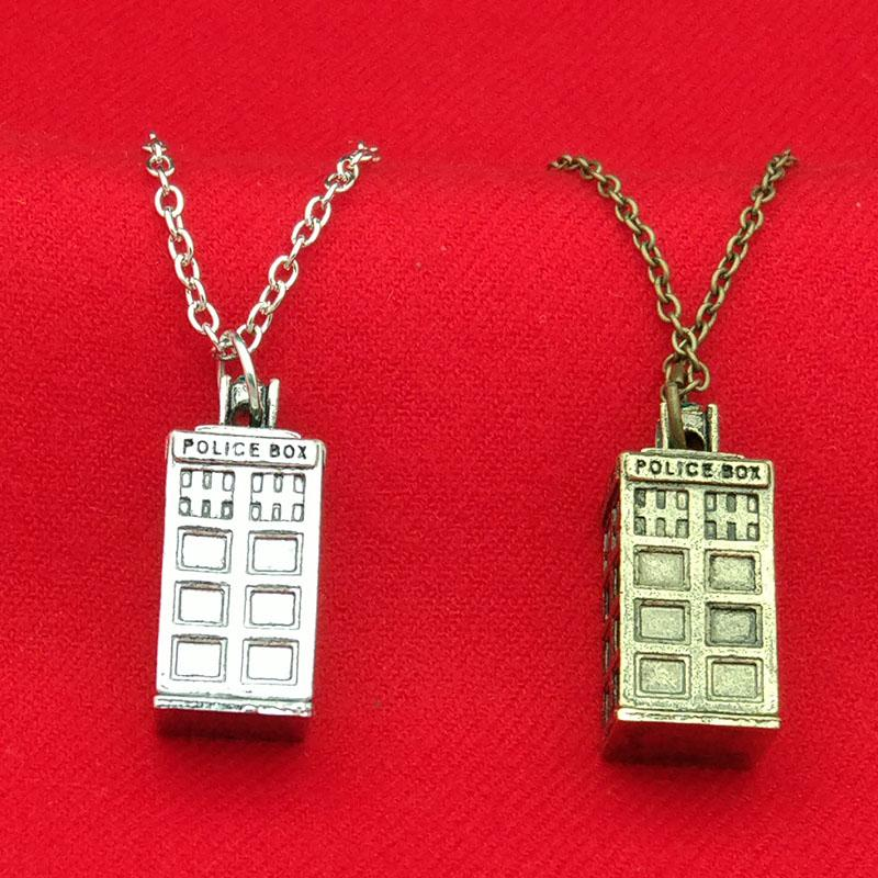 Wholesale doctor who tardis police box necklace bronze silver wholesale doctor who tardis police box necklace bronze silver mysterious phone box charm tardis necklaces statement jewelry for men women gift 160480 aloadofball Image collections