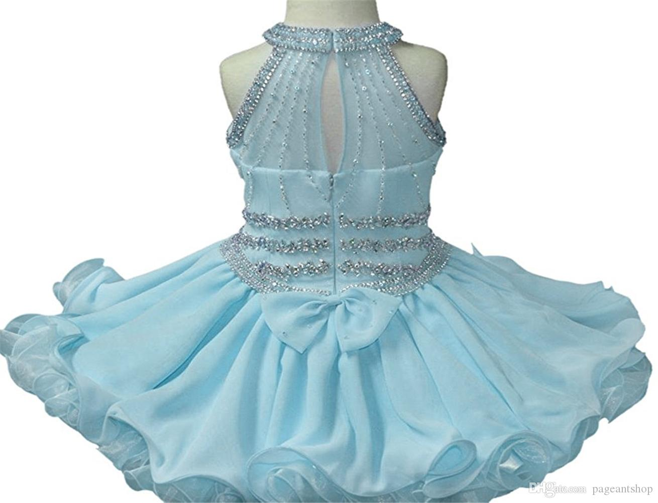 Baby Girls Halter White Pageant Cupcake Dresses Toddler Glitz Mini Short Birthday Party Gowns Infant Formal Wear Dresses