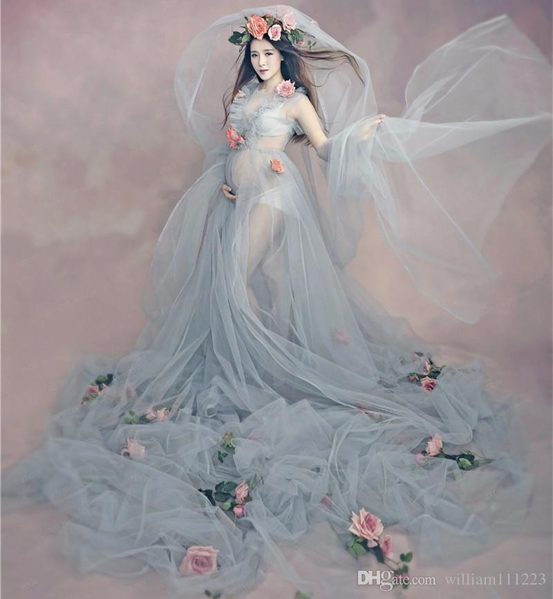 Free Size Pregnant Maternity Dress+Flower+Underwear Women ...