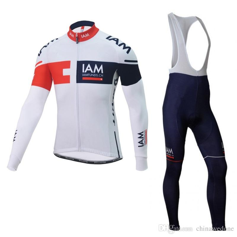 Pro team IAM winter fleece cycling jerseys long sleeve mens warmer quick dry bike cloth MTB Ropa Ciclismo Bicycle maillot bib pants gel pad