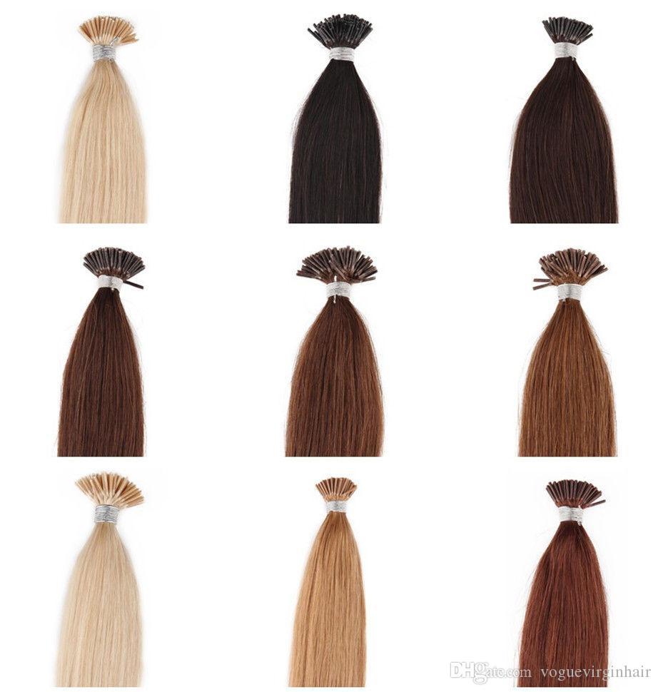 Işlenmemiş Düz I-ucu perulu i-ucu İnsan saç uzantıları Brezilyalı İnsan saç önceden gümrük saç uzantıları Satılık 50 gram
