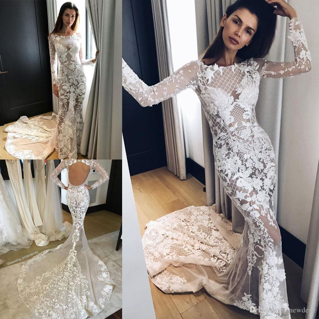 Beaded Lace Applique Mermaid Wedding Dresses Open Back Bridal Gowns ...