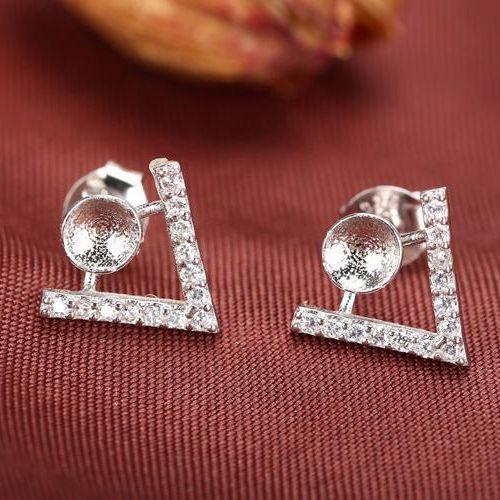 고급 실버 925 스털링 실버 약혼 웨딩 스터드 귀걸이 파티 쥬얼리 크리스탈 6-8 MM 라운드 곰 또는 진주 세미 마운트