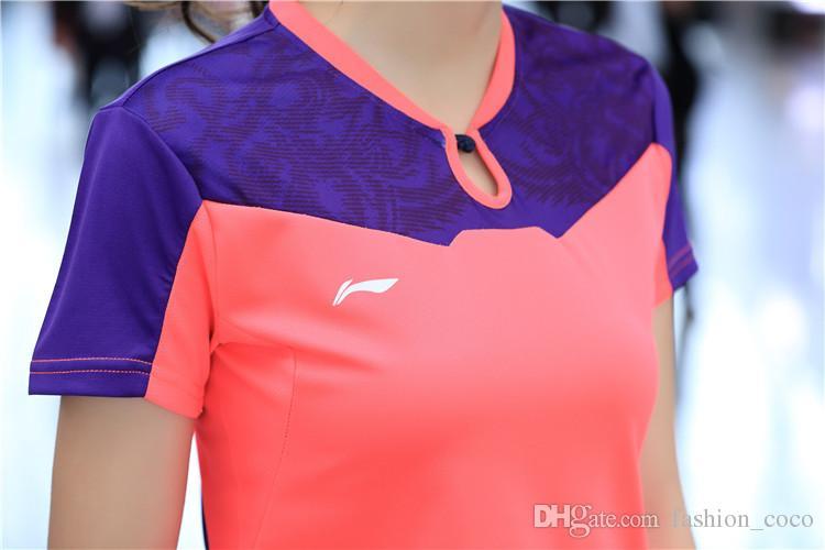 Tênis de Mesa de mundo de Fitness Jogo de Fitness T-shirt de Manga Curta + Curto Ténis De Mesa Roupas Li Ning Badminton Jersey