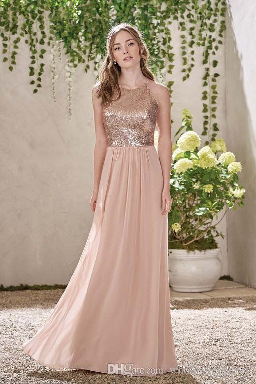 Rose Golden A Line Bridesmaid Dresses 2017 Simple Long Chiffon Bridesmaid Gowns Jewel Neck Off the Shoulder Wedding Guest Dresses Hot Sale