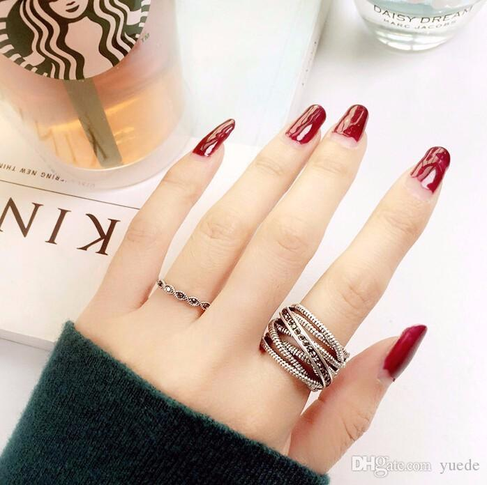 2017 Party Trendy Rings Jewelry Anillos Fashion 925 Name Ring For Woman Unique Thailand Compatible With Pandora Retro Charm