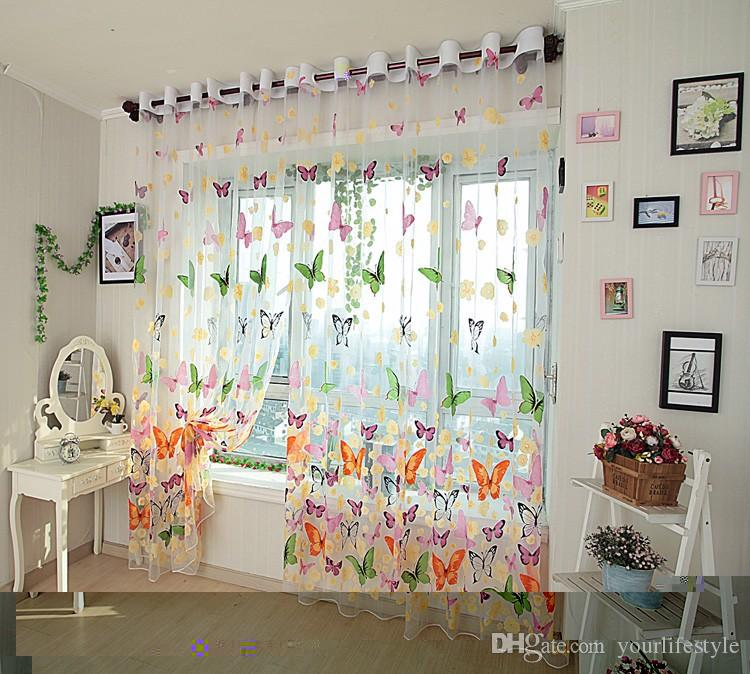 Butterfly Print Sheer Window Curtain Tulle Voile Curtains Screening