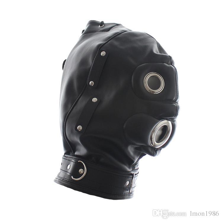 Blindfolded latex mask hooded sex slaves