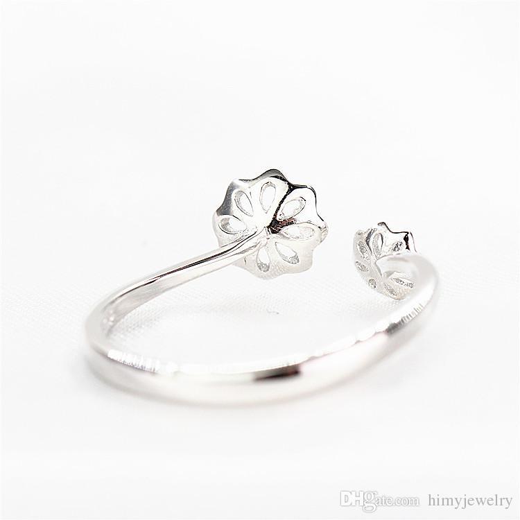 Sterling Silber 925 vergoldet Weißgold Frauen 5mm 7mm Perle oder Runde Perle Verlobungsfeier Trendy Ring Semi Mount Schmuck Einstellung Großhandel