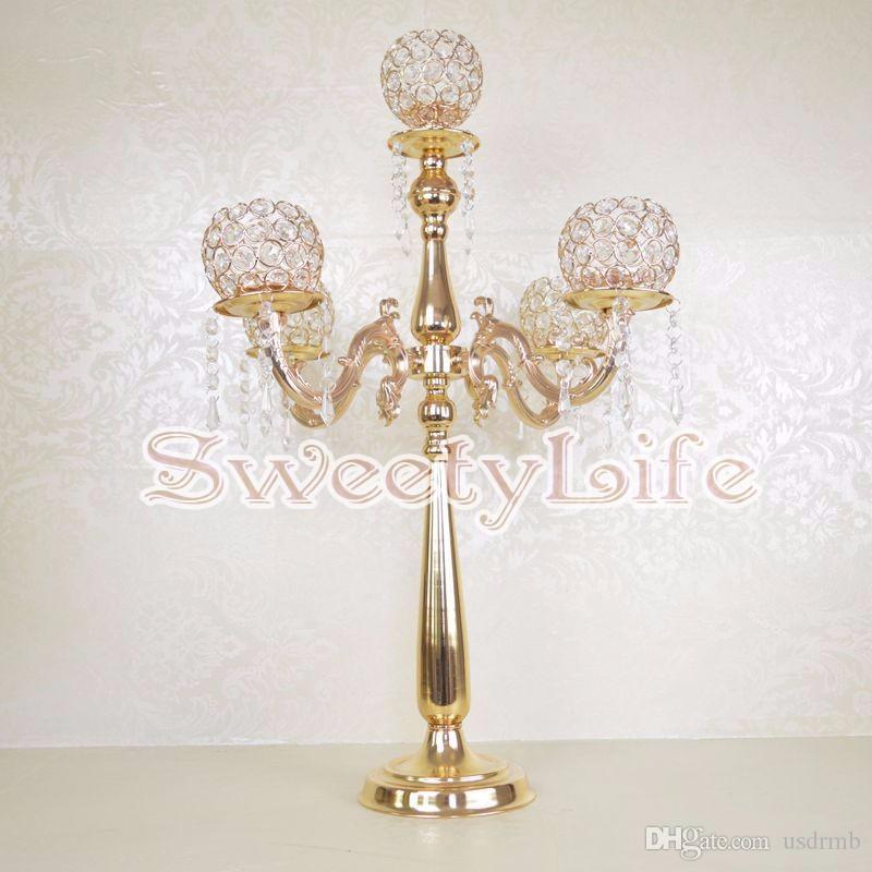 2017 75cm Tall Table Centerpiece 5 Balls Crystal Candelabra Candle Holder  Wedding Centerpiece Wedding Table Decor Candle Holder Gold Candelabrum From  Usdrmb ...
