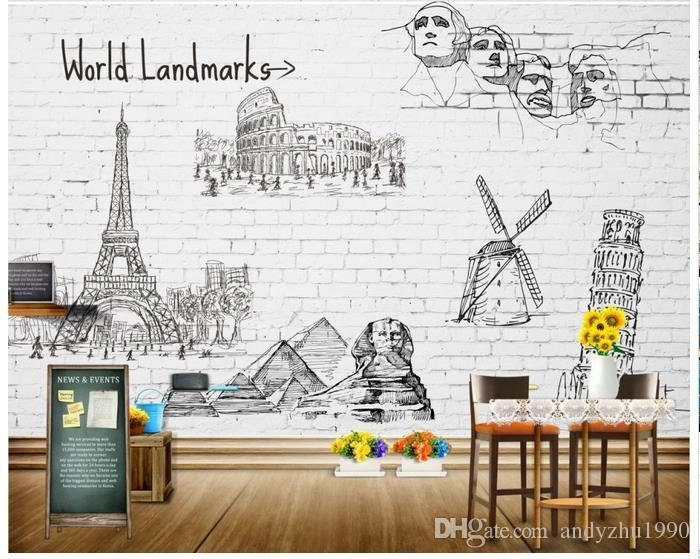 3D photo wallpaper custom size mural non-woven wall Hand painted on the wall famous building 3D Mural wallpaper