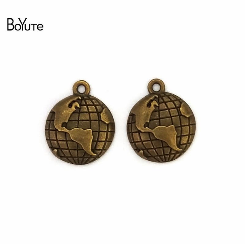 BoYuTe / 15MM Zinc Alloy Travel Theme Planet Globe Charms Vintage Style Earth World Map Pendant Diy Jewelry Accessories