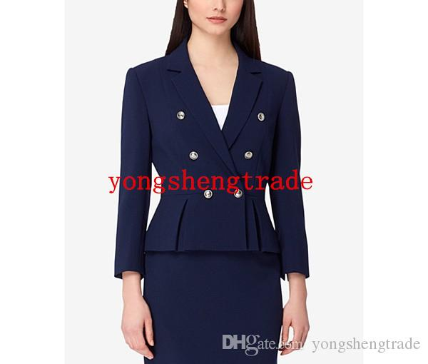 Designer Navy Skirt Suit For Women Custom Made Women Business Suits Double-Breasted Button Closure Notch Lapel Perfect For Any Occasion