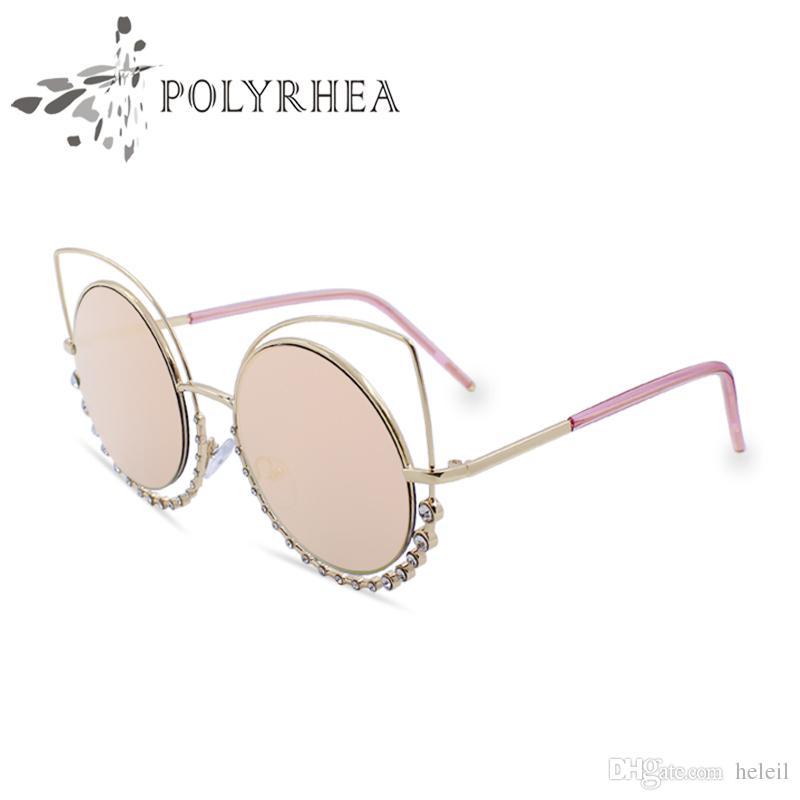 33915549c41 Cat Eye Sunglasses Women Brand Designer Coating Reflective Mirror Diamond  Decoration Sun Glasses Metal Luxury Sunglasses With Box Womens Sunglasses  ...