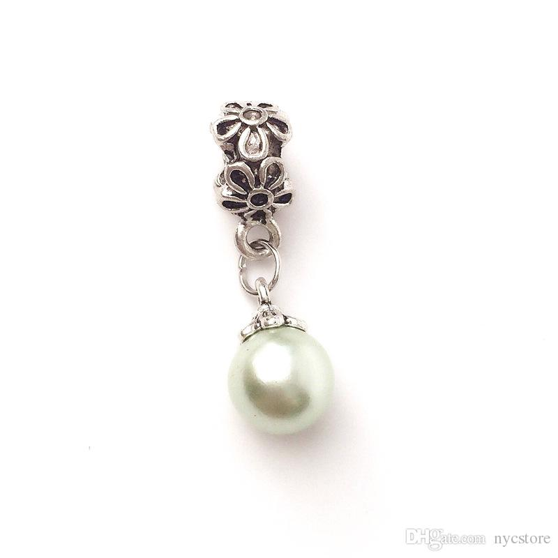 Fake Pearl Charms Big Hole Bead Pendant Fit Pandora Bracelet Pendant Fashion Jewelry Making Accessories