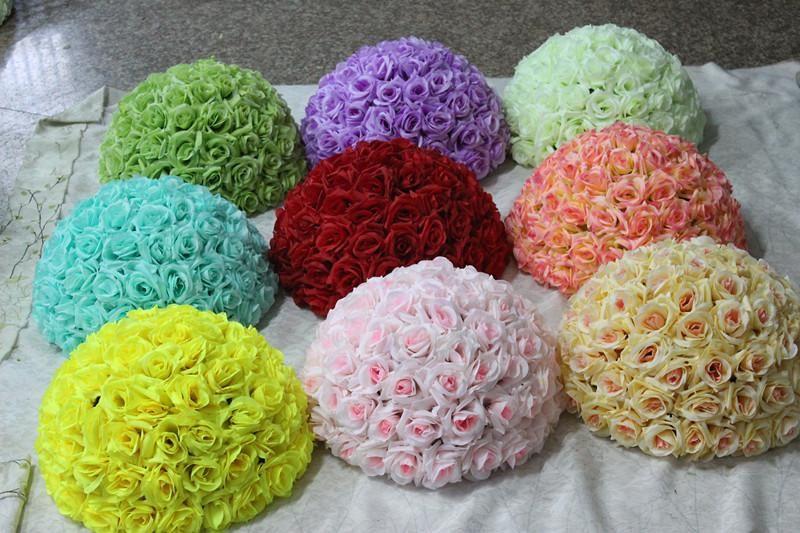 New 6~ 16 Inch Wedding silk Pomander Kissing Ball flower ball decorate flower artificial flower for wedding garden decoration