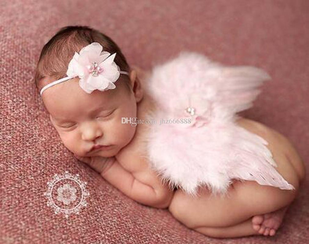 Großhandel Baby Engel Flügel + Chiffon Blume Stirnband Fotografie ...