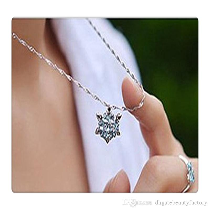 Snowflake Pendant Women Fashion Jewelry Pendant Necklace Sterling Silver Necklace Blue Rhinestone Snowflake Pendant Necklace Free DHL