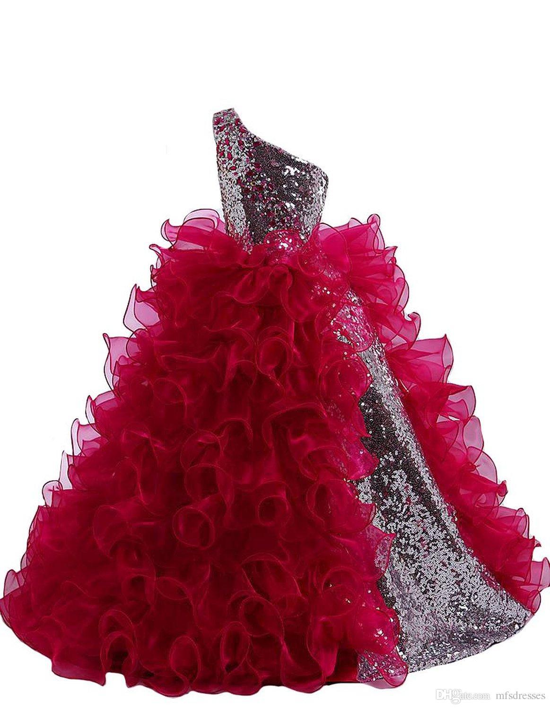 Silber Pailletten Blume Mädchen Kleider 2016 Ballkleid Rüschen Organza Bodenlangen Sexy Schulter Formale Kinder Pageant Kleid Mädchen