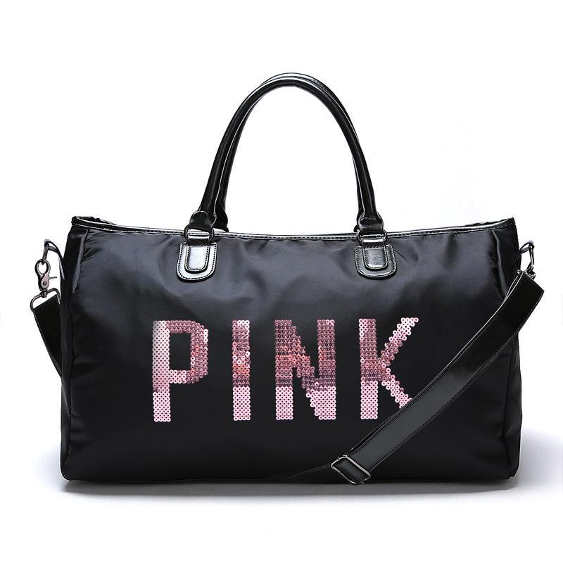 f65107a053 2019 Designer Metal Sequins PINK Letters Gym Bag Shoulder Crossbody Fitness  Sports Bag Women Tote Handbag Travel Duffle Bolsa From Htzyhstore